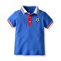 เสื้อเชิ้ตคอปกแขนสั้น-ปักลายฟุตบอล-สีน้ำเงิน
