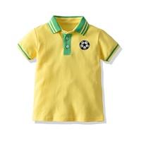 เสื้อเชิ้ตคอปกแขนสั้น-ปักลายฟุตบอล-สีเหลือง