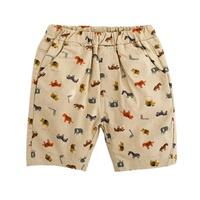 กางเกงเด็กขาสั้น-ลายสัตว์-สีน้ำตาลอ่อน