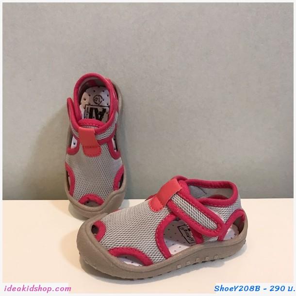รองเท้าลำลอง waterproof beach shoes สีเทาชมพู