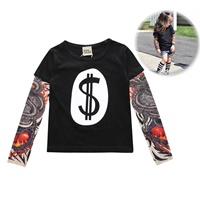 เสื้อยืดแขนยาว-Tattoo-T-Shirt--ลาย-Dollar-สีดำ-