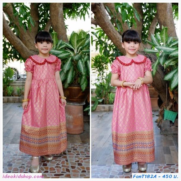 ชุดเดรสลายไทยพิมพ์ทอง คอบัว สีชมพูอ่อน