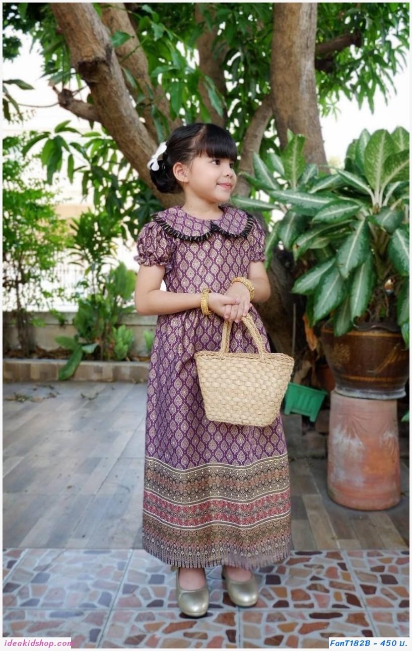 ชุดเดรสลายไทยพิมพ์ทอง คอบัว สีม่วง