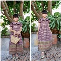 ชุดเดรสลายไทยพิมพ์ทอง-คอบัว-สีม่วง