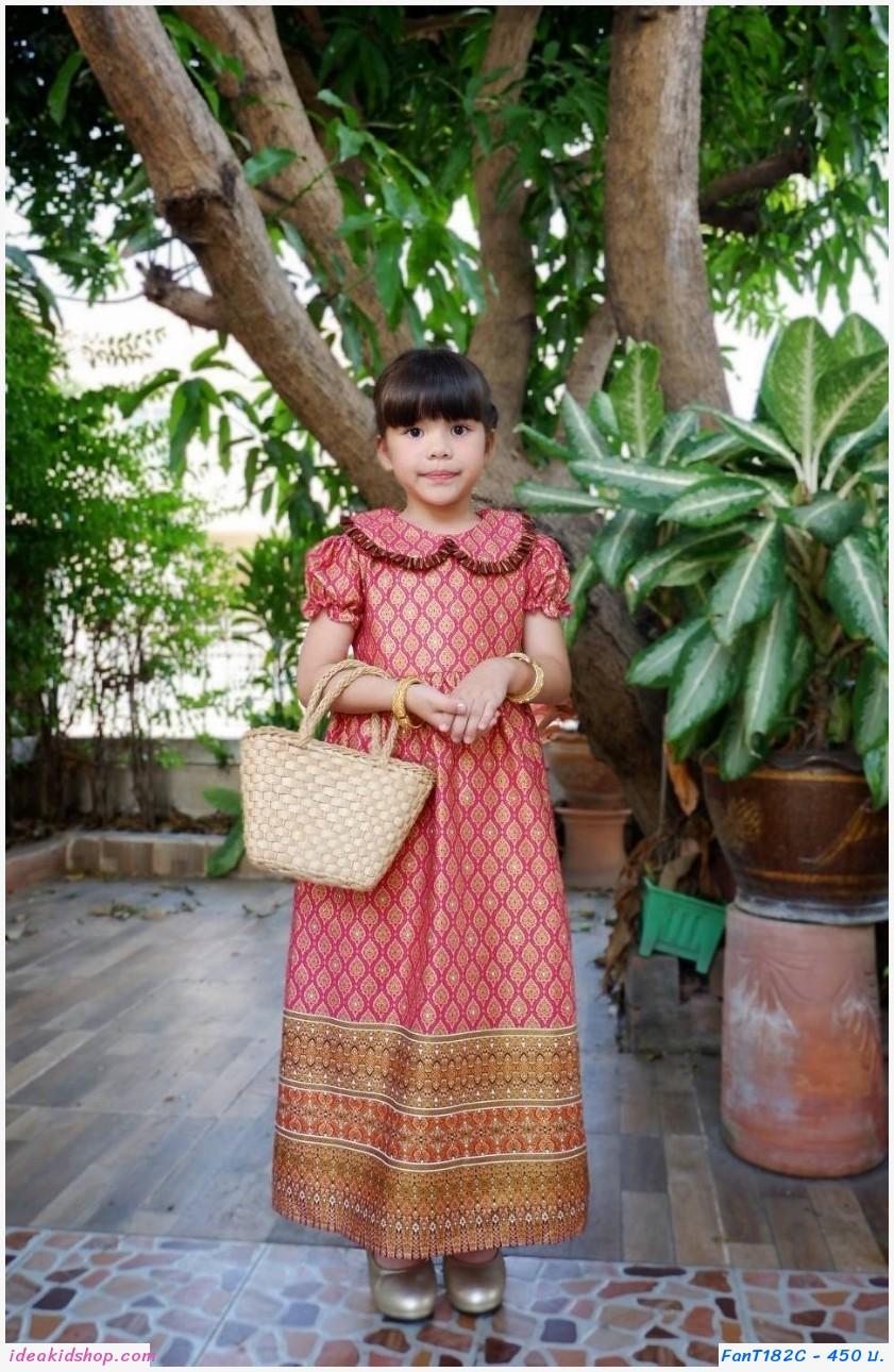 ชุดเดรสลายไทยพิมพ์ทอง คอบัว สีชมพูเข้ม