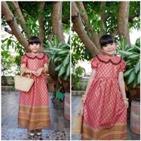 ชุดเดรสลายไทยพิมพ์ทอง-คอบัว-สีชมพูเข้ม