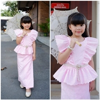 เซท-เสื้อ_ผ้าถุง-ผ้าลูกไม้สีชมพูหวานหวาน