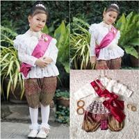 ชุดไทยแม่พลอยลูกไม้แขนยาว-ร.5-โจงลายไทย-สีขาว
