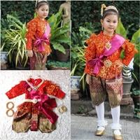 ชุดไทยแม่พลอยลูกไม้แขนยาว-ร.5-โจงลายไทย-สีแดง
