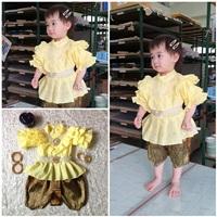 ชุดไทย-แม่พลอย-คอตตอน-ร.5-โจงลายไทย-สีเหลือง