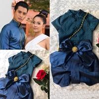 ชุดไทยเด็กชาย-พี่หมื่น-ผ้าทอยกดอก-สีน้ำเงิน