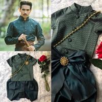 ชุดไทยเด็กชาย-พี่หมื่น-ผ้าทอยกดอก-สีเขียว