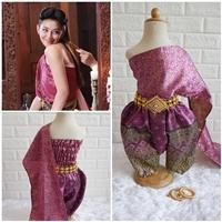ชุดไทยการะเกดโจง-สไบผ้าไหมอินเดีย-โทนสีชมพูบานเย็น