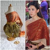 ชุดไทยการะเกดโจง-สไบผ้าไหมอินเดีย-โทนสีส้มเขียว