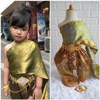 ชุดไทยการะเกดโจง-สไบผ้าไหมอินเดีย-โทนสีเขียวแดง
