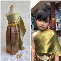 ชุดไทย-ผ้าถุงการะเกด-สไบผ้าไหมอินเดีย-สีเขียวทอง