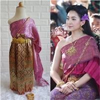 ชุดไทย-ผ้าถุงการะเกดสไบผ้าไหมอินเดีย-สีชมพูบานเย็น