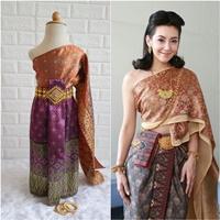 ชุดไทย-ผ้าถุงการะเกด-สไบผ้าไหมอินเดีย-สีส้ม