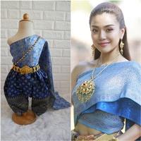 ชุดไทยการะเกดโจง-สไบผ้าไหมอินเดีย-โทนสีน้ำเงิน