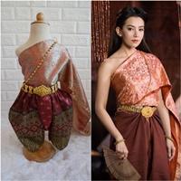ชุดไทยการะเกดโจง-สไบผ้าไหมอินเดีย-โทนสีชมพูโอรส