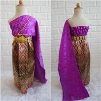 ชุดไทย-ผ้าถุงการะเกด-สไบผ้าไหมอินเดีย-โทนสีม่วง