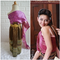 ชุดไทย-ผ้าถุงการะเกด-สไบผ้าไหมอินเดีย-สีชมพูม่วง