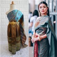 ชุดไทยผ้าถุงการะเกด-สไบผ้าไหมอินเดีย-โทนสีเขียวฟ้า