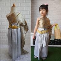 ชุดไทย-ผ้าถุงการะเกด-สไบผ้าไหมอินเดีย-โทนสีเทา