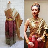 ชุดไทย-ผ้าถุงการะเกด-สไบผ้าไหมอินเดีย-สีเขียวแดง