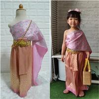 ชุดไทย-ผ้าถุงการะเกด-สไบกากเพชรสับปะรด-สีชมพู