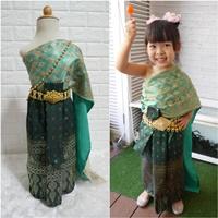 ชุดไทย-ผ้าถุงการะเกด-สไบกากเพชรสับปะรด-สีเขียว