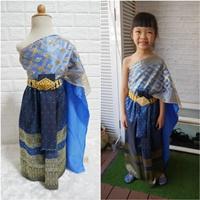 ชุดไทย-ผ้าถุงการะเกด-สไบกากเพชรสับปะรด-สีน้ำเงิน