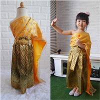 ชุดไทย-ผ้าถุงการะเกด-สไบกากเพชรสับปะรด-สีทอง