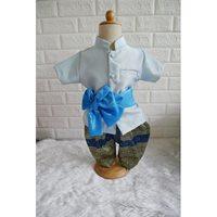 ชุดไทยเด็กชายพร้อมผ้าพาด-พี่หมื่น-สีฟ้า