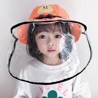 หมวกพร้อมหน้ากากป้องกัน-สไตล์เกาหลี-ลายตุ๊กตาสีส้ม