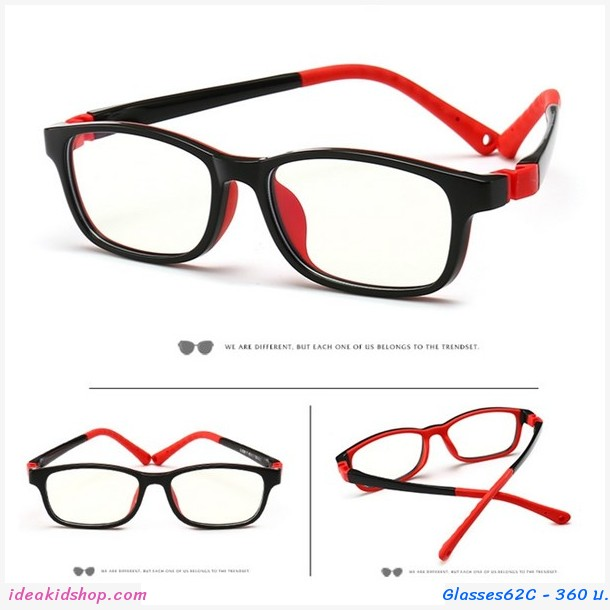 แว่นตาเด็ก กรองแสงสีฟ้า Anti-blue light สีแดงดำ