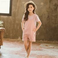 เอี๊ยมกางเกง_เสื้อลาย-สีชมพู(ได้2ชิ้น)