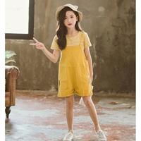 เอี๊ยมกางเกง_เสื้อลาย-สีเหลือง(ได้2ชิ้น)