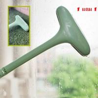 ที่เช็ดกระจก_แปรงทำความสะอาดในตัว-สีเขียว(1แถม1)-