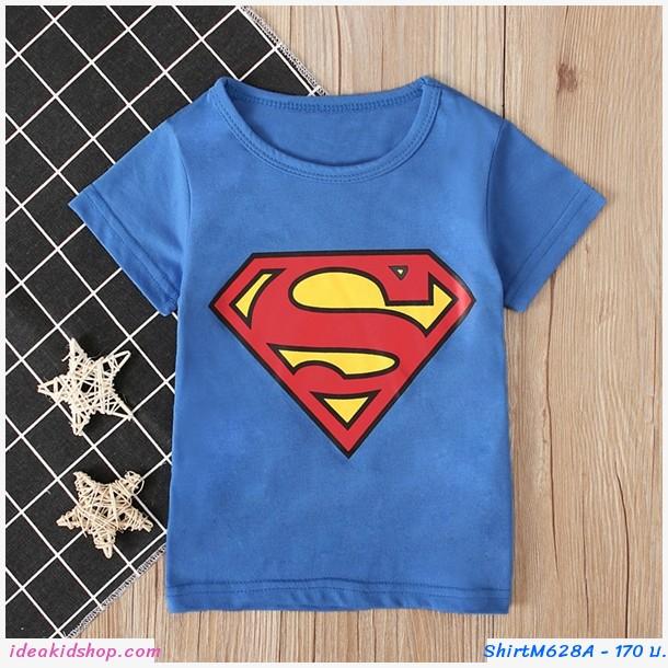 เสื้อยืดเด็ก ลาย Superman สีฟ้า