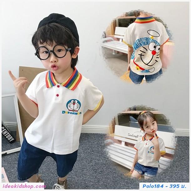 เสื้อเชิ้ตคอปกแขนสั้น Doraemon Rainbow