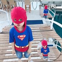เสื้อยืดเด็ก-Superman-พร้อมฮูดหน้ากาก