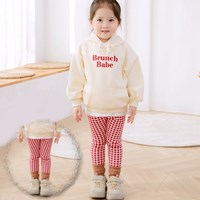 กางเกงเด็กขายาวลายสก๊อต-สีแดง