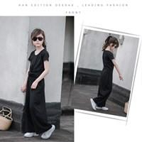 ชุดเสื้อกางเกง-เสื้อไขว้-แบบสบาย-สีดำ