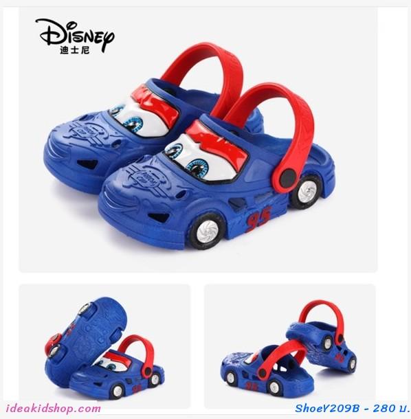 รองเท้าเด็กสไตล์ Crocs  Cars มีล้อ สีน้ำเงิน