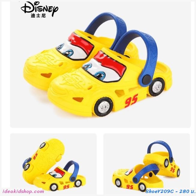 รองเท้าเด็กสไตล์ Crocs  Cars มีล้อ สีเหลือง