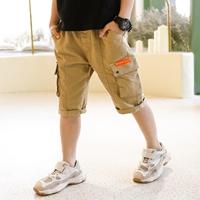 กางเกงแฟชั่นเด็กขาสามส่วน-GAHA-สีน้ำตาล
