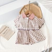 ชุดเสื้อกางเกงลายสก็อต-สีชมพูอ่อน