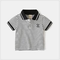 เสื้อเชิ้ตคอปกแขนสั้น-ลายทางสีขาวดำ