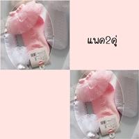ถุงเท้าผ้าลูกไม้-ฟรุ้งฟริ้ง-สีชมพู(แพค-2-คู่)